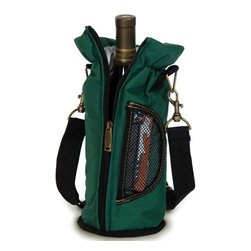 "Picnic Plus - Wine Pouch, Green - Picnic Plus Wine Bottle Insulated Pouch With Opener, Green. Color/Design: Green; Classic carrier for your Chablis or chardonnay; Fully insulated tote holds 1 bottle; Includes a wooden handle corkscrew opener. Dimensions: 12""H x 4""D"