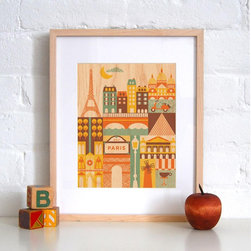 Petit Collage Paris Print on Wood - This whimsical illustration of Paris, printed on maple veneer, would make a lovely touch in any nursery. With a sophisticated, gender-neutral color palette, this retro print would be the perfect inspiration for your future world traveler.