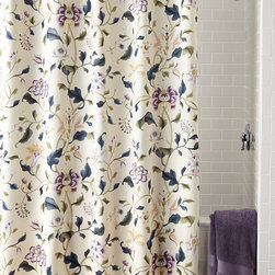 """Charisma - Eve Shower Curtain - MULTI COLORS (SHOWER CURTAIN) - CharismaEve Shower CurtainDetailsCream cotton with stylized floral pattern in lavender celadon and ink blue.Machine wash.72""""Sq.Liner not included.Imported.Designer About Charisma:Charisma linens are known for an understated elegance with attention to detail and quality workmanship. The Charisma collection includes fine bedding and towels that are often crafted from luxurious fabrics such as Egyptian cotton and Supima cotton for a truly soft touch that endures."""