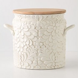 "Anthropologie - Verdant Bread Bin - Clay, olive woodDishwasher safe9.75""H, 8.75""W, 6.75""DItaly"