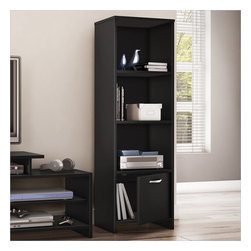 South Shore - South Shore Step One Shelf Bookcase in Pure Black - South Shore - Bookcases - 3107652 - With its contemporary style and straight lines this versatile all-purpose shelf bookcase from the Step One collection will blend perfectly with the other furniture in your room. It can perform multiple functions - as the ideal media tower for holding your DVDs and game console, or simply as a handy bookcase. This piece features three open storage spaces, separated by two adjustable shelves, and a closed storage space at the bottom, so you�ll have a neat, well-ordered room.