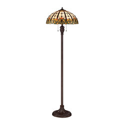 "Quoizel - Country - Cottage Quoizel Bishop Russet Tiffany Style Floor Lamp - The Bishop floor lamp by Quoizel features a slender column base in a russet finish and a Tiffany-style shade in a colorful floral design. The art glass shade is hand-assembled from 20 cabachons and more than 400 pieces of glass using the same copper foil method developed by Louis Comfort Tiffany. Tiffany style floor lamp. Resin and art glass construction. Russet finish. Glass count 450 pieces. Takes two 100 watt medium base bulbs (not included). 61"" high. Shade is 18"" round.  Tiffany style floor lamp.  Cast resin and art glass construction.  Russet finish.  Glass count 450 pieces plus 20 cabachons.  Takes two 100 watt medium base bulbs (not included).  61"" high.  Shade is 18"" round."