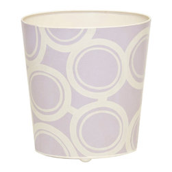 Worlds Away Oval Wastebasket, Lavender and Cream Circle Design - Oval Wastebasket, lavender and cream circle design.