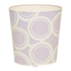 Worlds Away Oval Wastebasket, Lavender and Cream Circle Design - Oval Wastebasket, lavender and cream circle design.