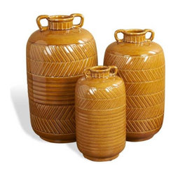 Interlude Home - Interlude Home Sienna Etruscan Vases - These Interlude Home Vases are crafted from Ceramic and finished in Dark Honey.  Overall sizes are: 9 in. W x  9 in. D x 16 in. H.  8 in.  in. W x  8 in.  in. D x  13 in. H.  6 in. W x  6 in. D x  11 in. H.