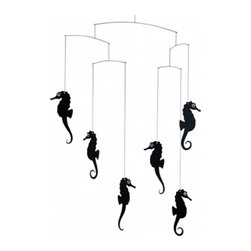Flensted Mobiles - Seahorse Mobile, Black - Three seahorse couples in perpetual motion, engrossed in all that takes place around them. Did you know, by the way, that in the seahorse world it is the male who becomes pregnant?