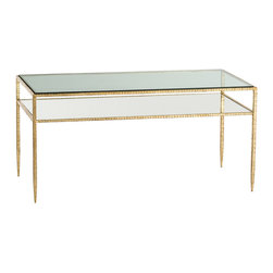 """Arteriors - Arteriors Dean Cocktail Table - The Arteriors Dean cocktail table presents elegance in striking style. Beneath a rectangular glass top, its mirrored floating shelf dazzles within a glamorously golden frame. 40""""W x 20""""D x 19.5""""H; Hammered iron; Gold leaf finish; Inset glass surface"""