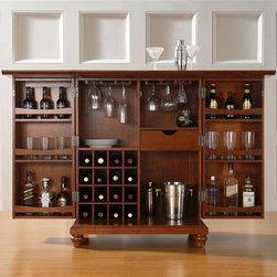 Crosley Furniture - Cambridge Bar Cabinet in Cherry - Beautiful Raised Panel Doors. Antique ...