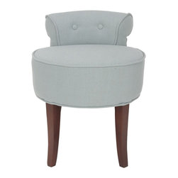 Safavieh Furniture - Hannah 18 in. Vanity Chair - Petite tufted back. Birchwood legs. 60% polyester and 40% linen blend upholstered seat. No assembly required. 18 in. W x 19 in. D x 23 in. H (12 lbs.)This component of the collection will renovate up any room in your home.