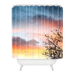 DENY Designs - Bird Wanna Whistle Bird Line Shower Curtain - Who says bathrooms can't be fun? To get the most bang for your buck, start with an artistic, inventive shower curtain. We've got endless options that will really make your bathroom pop. Heck, your guests may start spending a little extra time in there because of it!
