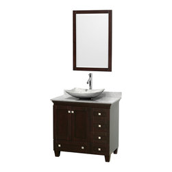 "Wyndham Collection - 36"" Acclaim Single Vanity w/ White Carrera Marble Top & Arista White Marble Sink - Sublimely linking traditional and modern design aesthetics, and part of the exclusive Wyndham Collection Designer Series by Christopher Grubb, the Acclaim Vanity is at home in almost every bathroom decor. This solid oak vanity blends the simple lines of traditional design with modern elements like beautiful overmount sinks and brushed chrome hardware, resulting in a timeless piece of bathroom furniture. The Acclaim comes with a White Carrera or Ivory marble counter, a choice of sinks, and matching mirrors. Featuring soft close door hinges and drawer glides, you'll never hear a noisy door again! Meticulously finished with brushed chrome hardware, the attention to detail on this beautiful vanity is second to none and is sure to be envy of your friends and neighbors"