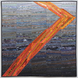 "Quilts--abstract and intense - This quilt--""orange road"" gives a sense of place and tells a simple story. It is made by the artist of commercially available cotton fabrics pieced and quilted in a simple method that provides texture and richness to the quilt and reflects back on the tradition of quilt making while also being very contemporary. Custom orders welcom. Photo by John Polak"