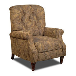 Chelsea Home - New Hampshire Recliner - Traditional style. Isle tobacco cover. Attached seat and back cushions. Sinuous springs. 100 % poly upholstery. Medium seating comfort. Mechanically engineered mechanisms for durability and long life. Made from sturdy, solid kiln dried hardwood frame and hi-density foam cores with dacron polyester wrap cushion. Made in USA. No assembly required. 33 in. L x 30 in. W x 39 in. H (100 lbs.)