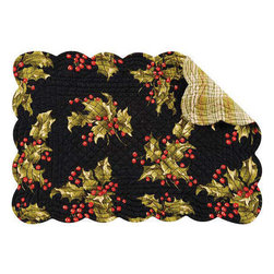 C F enterprises - Holly Black Rectangular Placemat - High quality quilted placemats by C F Enterprise transform your table in fresh colors and styles.   Black background with holly sprigs.
