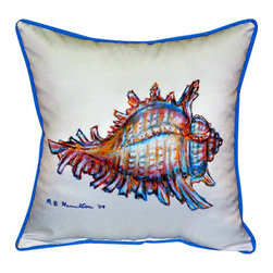 Betsy Drake - Betsy Drake Conch Shell Pillow- Indoor/Outdoor - Conch Shell Pillow- Large indoor/outdoor pillow. These versatile pillows are equal at enhancing your homes seaside decor and adding coastal charm to an outdoor setting arrangment. They feature printed outdoor, fade resistant fabric for years of wear and enjoyment. Solid back, polyfill. Proudly made in the USA.
