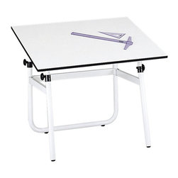 """Safco - Safco Horizon Drawing Table Base - Safco - Drawing Tables - 3961 - Drawing table base is height adjustable between 29 and 45"""" with easy access knobs and folds down for compact storage. Top tilts to a 50 degree angle and no-scratch rubber casters mean no risk of damage to floor surfaces."""
