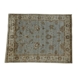 Oriental Rug, Bamboo Silk Oushak Hand Knotted 9'x12' Light Blue Rug SH14032 - Hand Knotted Oushak & Peshawar Rugs are highly demanded by interior designers.  They are known for their soft & subtle appearance.  They are composed of 100% hand spun wool as well as natural & vegetable dyes. The whole color concept of these rugs is earth tones.