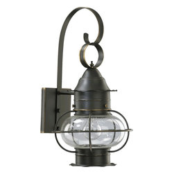 Quorum Lighting - Quorum Lighting Emeril Transitional Outdoor Wall Sconce X-59-2797 - A beautiful maritime inspired design draws the eye in to this Quorum Lighting outdoor wall sconce. From the Emeril Collection, it features a beautiful Old World finish that accentuates all the stylish details. A clear seeded glass globe compliments the design and pulls the look together.