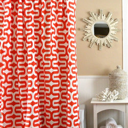 Shower Curtain HQ - http://showercurtainhq.com/products/orange-and-white-tribal-shower-curtain