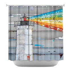 DiaNoche Designs - There is a Light That Never Goes Out Shower Curtain - Sewn reinforced holes for shower curtain rings. Shower curtain rings not included. Dye Sublimation printing adheres the ink to the material for long life and durability. Machine washable. Made in USA.