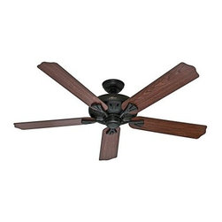 Hunter The Royal Oak 60 in. Indoor Ceiling Fan with Remote - Grand in scale and highly energy efficient, the Hunter The Royal Oak 60 in. Indoor Ceiling Fan with Remote is a smart choice for any room. This ceiling fan has an updated look and comes in a variety of select finish options. It features five reversible blades and a handy remote control that makes it a breeze to adjust the speed of the fan or turn it on and off. Blurb: What is an ENERGY STAR product?This product has earned the ENERGY STAR rating from the U.S. Environmental Protection Agency and the U.S. Department of Energy. ENERGY STAR is a voluntary labeling program designed to identify and promote energy-efficient products. These products meet strict guidelines and can help you save up to a third on energy bills compared to like products without an ENERGY STAR rating. ENERGY STAR products saved about $14 billion in 2006 alone, and their numbers are growing exponentially in product categories. This ENERGY STAR product has met criteria that will save energy, money, and reduce greenhouse gas emissions. An excellent choice.About Hunter FanHunter Fan traces its origins back to 1886 when John Hunter and his son, James Hunter, maked the first water-driven celling fan in upstate New York. Today the company blends 19th century craftsmanship with innovative designs and technology to make fans of unmatched quality, style, and performance. Hunter Fans now has offices in three countries and retail outlets around the world. Hunter Fans offers style, comfort, and health for you and your family. Their fans are handcrafted from the finest materials to last a lifetime. Hunter ceiling fans function perfectly and always deliver proven performance. They also offers air purifiers and humidifiers to make a truly healthy environment for your family. Hunter fans are as beautiful as they are whisper-quiet and efficient.