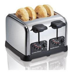 Hamilton Beach - Hamilton Beach 4 Slice Chrome Toaster - This 4-slice chrome toaster features one-touch smart functions auto shutoff toast boost extra-wide slots to accommodate thick bagels and hearty hand-sliced breads cord wrap for easy storage and easy-clean crumb trays that slide out easily for quick cleanup. Bagel technology toasts the cut side and warms the round side.