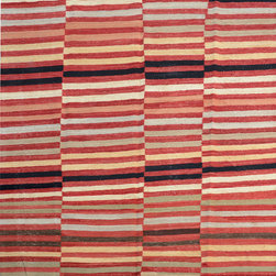 "ALRUG - Handmade Multi-colored Oriental Kilim  6' 4"" x 8' 4"" (ft) - This Afghan Kilim design rug is hand-knotted with Wool on Wool."