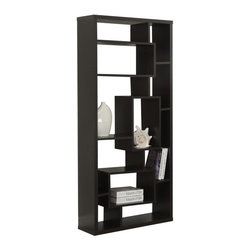 Monarch Specialties - Monarch Specialties Cappuccino Hollow-Core Bookcase - Add a decorative center-piece on any wall of your home or use it as a room separator for additional design appeal. This beautifully crafted cappuccino hollow-core bookcase will be the talked about piece among your guests. This multi-use item features 11 angled spaces for all your collectibles this bookcase will highlight all your most prized possessions.