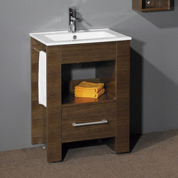 """24"""" Warbeck Console Vanity - Walnut - The 24"""" Walnut Warbeck Bathroom Vanity offers all the benefits of a console cabinet in a petite size. The porcelain integral sink features a single-hole faucet drilling, chrome pop-up drain and matching overflow cover."""