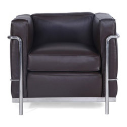 "Serenity Living Stores - Le Corbusier LC2 Style ArmChair - Aniline Leather , Chocolate - Our LC2 line reproduction was inspired by Le Corbusier's original design back in the 1920's. Charles-Edouard Jeanneret-Gris better known as Le Corbusier, introduced the LC2 line for two of his project ""The Maison la Roche in Paris� and pavilion for Barbara and Henry Church. Our LC2 furniture line is true to the original design; we offer superiors quality leathers and craftsmanship. A lot of reproduction companies out there use fake leather or vinyl on their products and lower grade steel which will bend and chip over time. We offer multiple colors on all of our products, and our stainless steel is hand polished to a mirror finish.                                                                                                                                                                                                                      Overall Dimensions: 26.4"" H x 29.9""L x 27.5"" D"