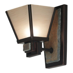 Kenroy Home - Kenroy 91601ORB Clean Slate 1 Light Sconce - This Mission styled family offers a fresh and uncluttered look.  Warm Oil Rubbed Bronze finish is offset against cool Natural Slate while metal trimmed shades cast a warm glow.