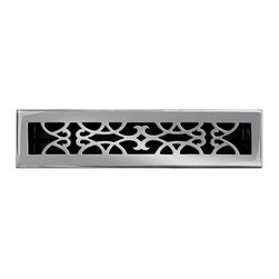 """Brass Elegans [120C PWT] Brass Decorative Floor Register Vent Cover - Victorian - This pewter finish solid brass floor register heat vent cover with a victorian scroll design fits 2 1/4"""" x 14"""" x 2"""" duct openings and adds the perfect accent to your home decor."""
