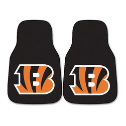 Fanmats - Fanmats Cincinnati Bengals 2-piece Carpeted Nylon Car Mats - Protect your cars interior and celebrate your favorite team with these Bengals car mats. This two-piece set of nylon mats features a large B in the Bengals colors on each one. The nonskid vinyl backing helps keep the mats in place while you drive.