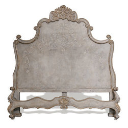 Newport King Bed, Weathered Creams, Gray, and Gold Leaf - Newport King Bed, Weathered Creams, Gray, and Gold Leaf