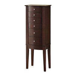 "Powell - Powell Merlot Jewelry Armoire - Merlot Jewelry Armoire belongs to Contemporary Merlot Collection by Powell The freestanding ""Merlot"" finished Jewelry Armoire is accented with sleek round drawer pulls and thin straight legs.  Sized for economy and function, this jewelry armoire is the perfect piece to store all of your beloved treasures.  Top opens up, side doors open wide and deep drawers pull out to provide ample storage. Inside features plush black lining. Some assembly required.   Jewelry Armoire (1)"