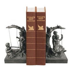 Sterling Industries - Pair Of Boy And Girl On Swing Book Ends - Pair Of Boy And Girl On Swing Book Ends