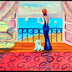 Caroline's Treasures - Westie With Mom And A View Indoor Or Outdoor Mat 24X36 Doormat - Indoor / Outdoor Mat 24x36 - 24 inches by 36 inches. Permanently dyed and fade resistant. Great for the front door or the back door.  Use this mat inside or outside.    Use a garden hose or power washer to chase the dirt off of the mat.  Do not scrub with a brush.  Use the Vacuum on floor setting.  Made in the USA.  Clean stain with a cleaner that does not produce suds.