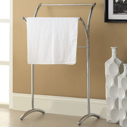 "Acme Furniture - Kaisa Towel Rack in Chrome - Kaisa Towel Rack in Chrome; Finish: Chrome; Materials: Metal Tube; Weight: 3.3 lbs; Dimensions: 19"" x 14"" x 36""H"