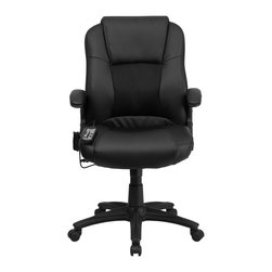 Flash Furniture - Flash Furniture Office Chairs Massaging Offfice Chairs X-GG-1-P6352-TB - Enjoy a relaxing massage in the comfort of your own office or home with this incredibly comfortable Massaging Executive Office Chair by Flash Furniture. The included remote has a variable slider intensity mode to get to your desired comfort level and has a designated side pocket when not in use. Chair features a mid-back contemporary design with leather upholstery and mesh insets in the seat and back. Get the most out of your next office chair with this Overstuffed Padded Executive Chair with included Massage feature. [BT-2536P-1-GG]