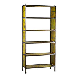 Habitat Home & Garden - Metal Bookcase (Two Colors), Lemon Yellow - The Metal Bookcase is made using reclaimed metal. Available in Cherry Red or Lemon Yellow, this piece will add a pop of color to your home or office.