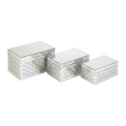 Mandiline Mirror Mosaic Boxes - Set of 3 - Mirrored tiles add sweet sophistication to this set of three Mandiline mosaic boxes. Perfect for any nightstand, dresser or vanity.