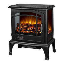 "World Marketing - Comfort Glow Sanibel Electric Stove Black - Comfort Glow The Sanibel Electric Stove. Panoramic 3 sided viewing. Thermostat heat control. 1500w/120v. 4600 BTUs. 20.5""x10.5""x18.5"""