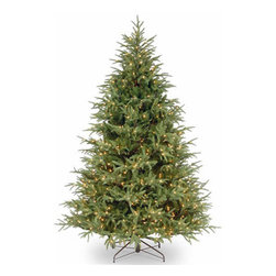 7 1/2 Ft. Feel-Real Frasier Grande Christmas Tree w/ 1000 Clr Lights - Measures 7.5 feet tall with 65 inch diameter. Features FEEL-REAL branch tip technology for remarkable realism! Pre-lit with 1000 UL listed, pre-strung Clear lights. Tip count: 3719. All metal hinged construction (branches are attached to center pole sections). Comes in three sections for quick and easy set-up. Includes sturdy folding metal tree stand. Light string features BULB-LOCK to keep bulbs from falling out. If one bulb burns out then the others remain lit. Fire-resistant and non-allergenic. Includes spare bulbs and fuses. 5-year tree warranty / 2-year lights warranty. Packed in reusable storage carton. Assembly instructions included.