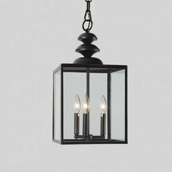 None - Antique Bronze 3-light Glass Caged Foyer Chandelier - Illuminate the interior entrance to your home with this elegant foyer chandelier. This three-light chandelier contains three glowing 40-watt bulbs encased in a simple glass-and-iron box, creating a look that is modern yet sophisticated.
