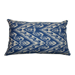 DD - Blue Ikat printed Throw Pillow - This beautiful printed ikat throw pillow will be just the right touch of perfection to your home