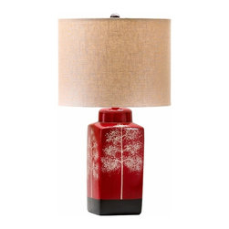 Red Sponge Paint Tree Table Lamp - *Thomas Table Lamp