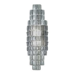 840850-1ST Sconce Constructivism - Sconce of individually cast Midnight grey glass pillow-shaped pieces, fused at high temperature in a hand-laid cobblestone pattern. The individual lenses create a fascinating light diffuser & sculptural form. Exposed metal in hand-applied silver leaf.