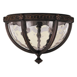 Murray Feiss - Murray Feiss Regent Court Traditional Outdoor Flush Mount Ceiling Light X-LAW316 - Botanical inspired details and a beautiful filigree pattern draw the eye in on this Murray Feiss outdoor flush mount ceiling light. From the Regent Court Collection, it features an earthy Walnut toned finish over a sturdy aluminum construction. A coordinating blown clear water glass shade pulls the look together.