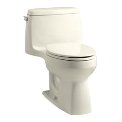 """Kohler - Kohler K-3810-47 Almond Santa Rosa Santa Rosa Comfort Height One-Piece - Santa Rosa™ Comfort Height  one-piece, compact elongated 1.28 gpf toilet Compact in size, the stylish Santa Rosa toilet delivers 3.5-gallon flushing performance in a 1.28-gallon package. This one-piece elongated toilet is available in a palette of KOHLER colors to complement any décor.  High-efficiency system offers bulk flushing performance and best-in-class cleanliness Significant water savings of as much as 16,500 gallons of water annually over a 3.5 gallon toilet Meets strict flushing performance guidelines established by the EPA s WaterSense program Qualifies as an HET (High-Efficiency Toilet). Consumer rebates are available in some municipalities Skirted trapway is easy to clean and eliminates potential debris This product can help a building earn Water Efficiency points in the LEED Green Building Rating System 27-1/8""""L x 18-3/4""""W x 28-3/16""""H Large 3-1/4"""" canister flush valve features a powerful jet action, providing rapid water delivery from tank to bowl. 12"""" rough-in. Supply line not included Includes seat and cover Order K-4650 Lustra elongated open-front toilet seat – for Accessibility compliance"""