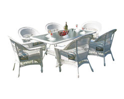 Wicker Paradise - Resin Wicker Dining Set: Cape Cod Set of 7 - This Cape Cod resin wicker dining set is stylish, built to last, and the outdoor dining chairs are built on aluminum frames and are stackable for easy storage during the off season. Outdoor Resin Wicker Dining Table is framed on an aluminum frame and measures (72L-43w), has a hole to hold an umbrella or use the plug to cover the hole. Set includes 6 large resin wicker chairs. PLEASE NOTE: the table ships with an embossed glass top.  *Please Note: If ordered, cushions take 3-4 weeks to produce and ship separately.